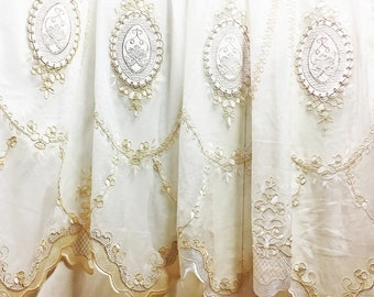RESERVED    Sheer Fabric - Polyester Patterned Sheer Panel - White with Fawn or Champagne with Cream  -  - P06  - 1 Panel
