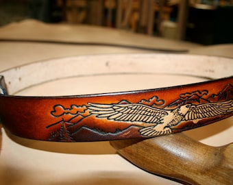 "Hand Made Tooled Leather American Eagle Belt - 1.5"" Wide - Free Personalization -  Mens Gift"