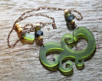 Acrylic Lucite Green Swirl Necklace with sea glass beads