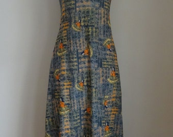 80's Maxi Dress Polyester Asian print