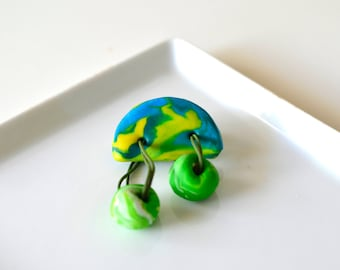 Mini Green Dangle Brooch