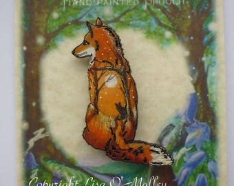 Hand Painted Wooden Brooch Fox