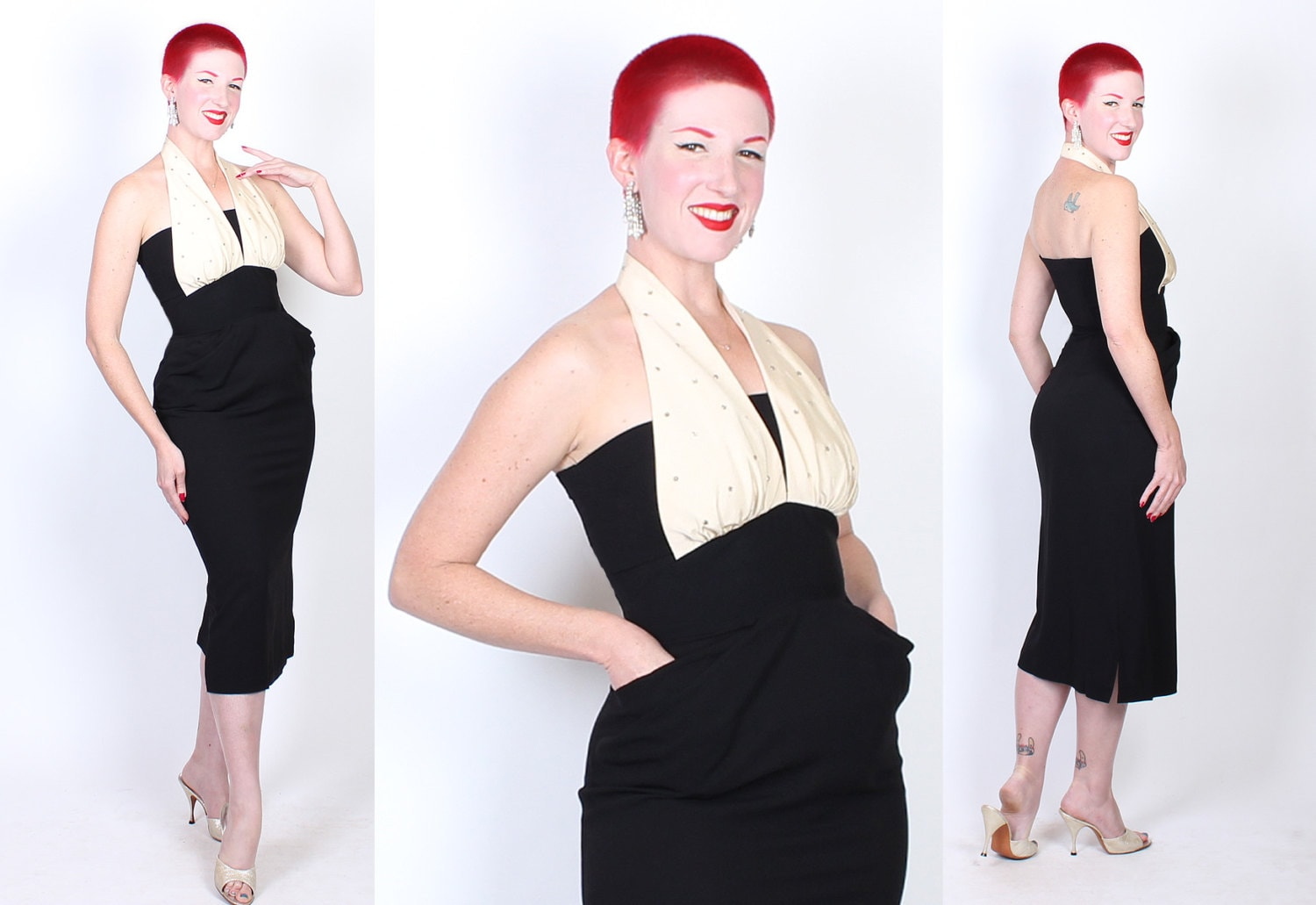 BOMBSHELL Early 1950s Rayon Crepe Extreme Hourglass Cocktail Dress w/ 3D Pleated Hip Pockets & Cream Satin Rhinestone Halter Shelf Bust - M