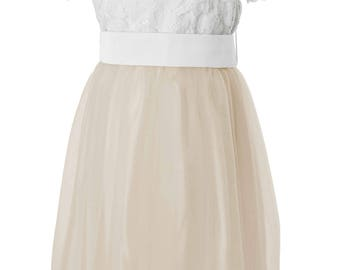 Champagne Tulle Flower Girl Dress with White Lace top and Sash also available in other colours by Matchimony