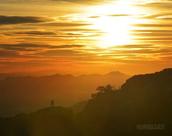 Love's Embrace - landscape photography, romantic decor, mountain art, sunset, orange, Southwest, Tucson, Arizona