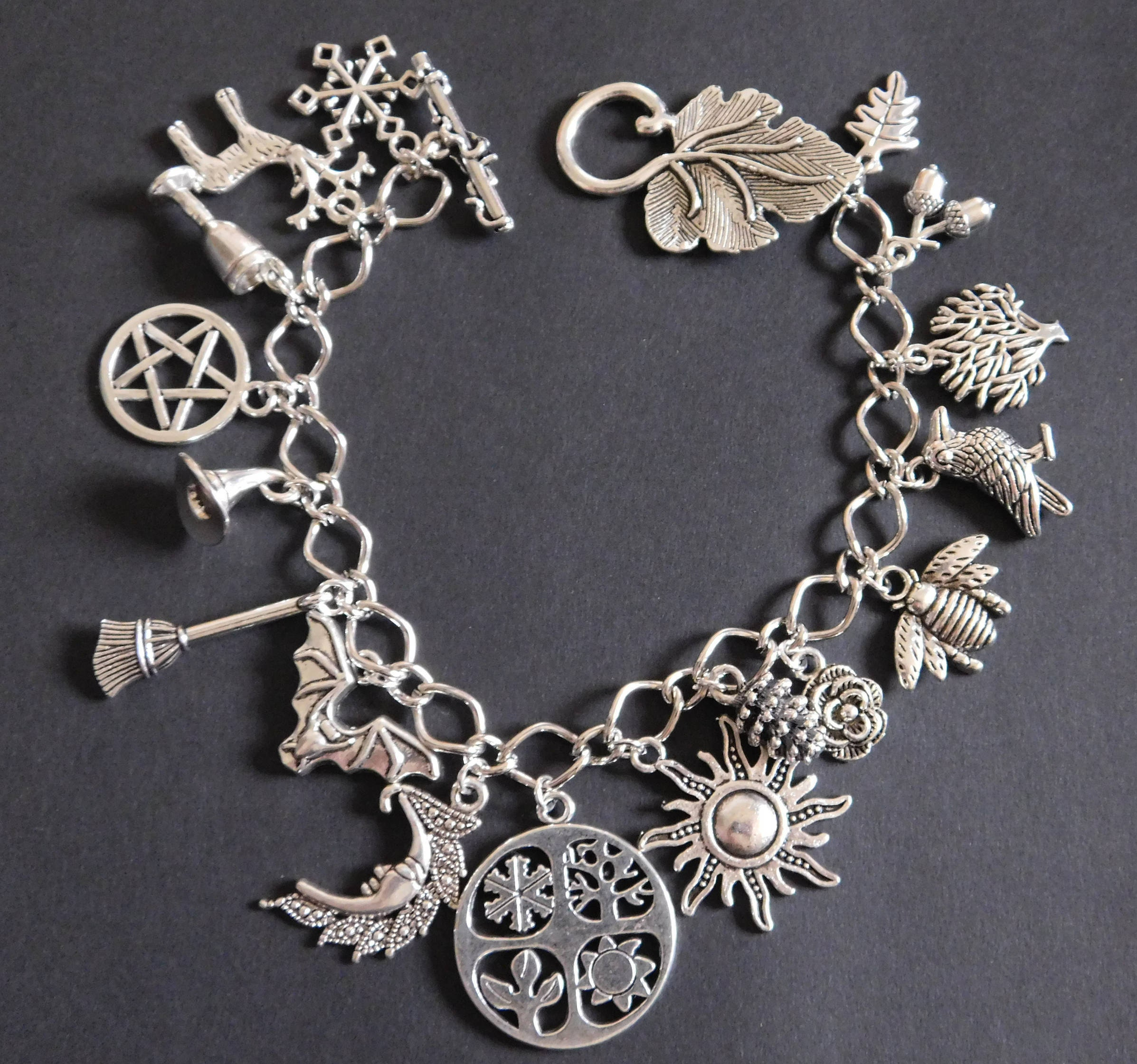 wheel weather seasons pagan unique fullxfull listing jewellery year il four charm of wicca silver bracelet