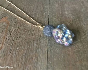 Rainbow Aura Titanium Citrine & Lava Stone Essential Oil Diffuser Necklace