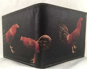 LEATHER ROOSTER WESTERN laser printed bi-fold wallet