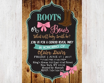 Boots or Bows Gender Reveal Invitations, Gender Reveal Invitation, Boots or Bows Gender Reveal, Gender Reveal Party 144