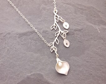 Calla Lily Lariat, 1-3 kids, calla lily necklace, flower lariat, mom necklace, mother necklace, family necklace, gifts for mom, N6