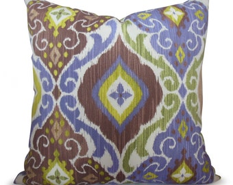 Ikat Indoor/Outdoor Pillow Cover in Purple, Chartreuse Green and Mocha Brown - Southwest Style - Decorative Pillow - Throw Pillow