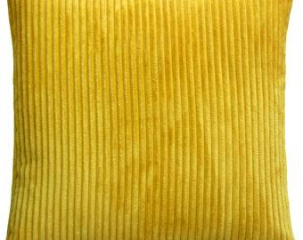 Wide Wale Corduroy 18x18 Yellow Throw Pillow