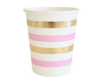 Paper Cups Pink Gold Party Cups Striped Gold Foil Cup Pink Gold Cups Drinking cups Baby  sc 1 st  Etsy & Marble Plates Metallic Gold Marble Paper Plate Marble and Gold