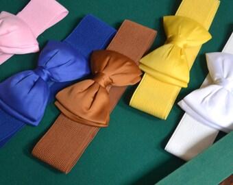 Bow cinch belt ,Wide elastic stretch corset belt, cinch belt with big bow,pink belt,blue belt ,white belt  , Pink bow belt, yellow bow belt