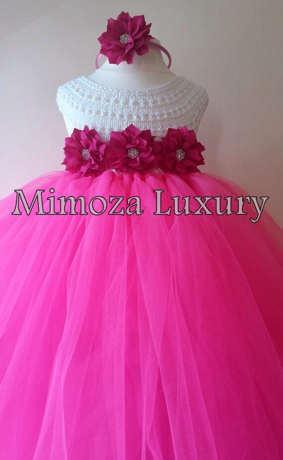 Pink Flower girl dress, hot pink  tutu dress, bridesmaid dress, princess dress, pink crochet top tulle dress, hand knit tutu dress in pink
