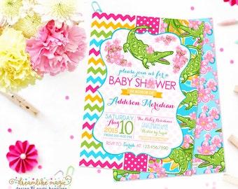 Alligator Baby Shower Invite, Printable Summer Baby Shower Invite, Baby Girl, Baby Girl Shower, Tropical Print, Summer Soiree, Lilly Blossom