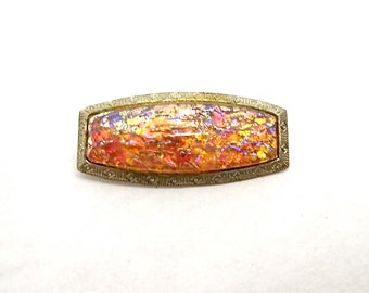 Vintage Brooch Dragons Breath Glass Jelly Arts and Crafts 1900s