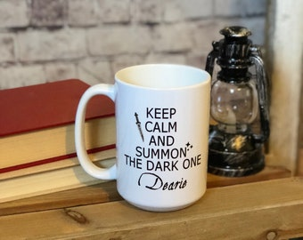 Keep calm and summon the dark one- once upon a time- rumplestiltskin- the dark one- coffee mugs- fandom mugs
