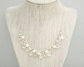 Clear Crystal Wedding Necklace, Crystal Bridal Necklace, Crystal Quartz and Pearl Necklace Wedding