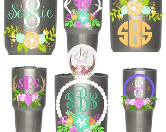 Floral Monogram Decal | Customizable Decal | Vinyl Sticker | YETI RTIC SIC Cup Tumbler | Antler, Flowers, Womens Yeti