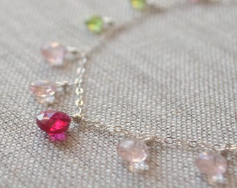 Pink and Green Gemstone Necklace, Tourmaline, Peridot, Rose Quartz, Real Stones AAA, Sterling Silver Jewelry, Free Shipping