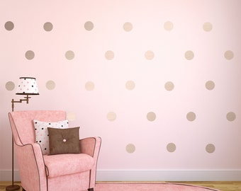 Silver Wall Decals, Silver Polka Dots Wall Decor, Silver Confetti Polka Dots, Polka Dot Wall Decals