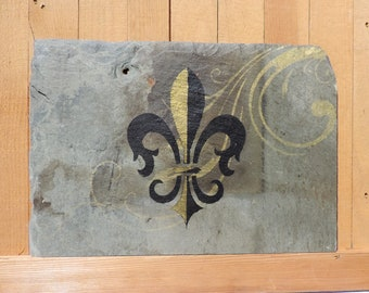 Fleur de lis on Recycled Roofing Slate