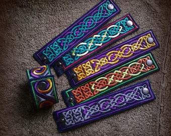 Textile embroidered bracelet