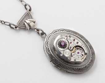 Steampunk Necklace Silver Oval Locket vintage watch movement gears with amethyst purple Swarovski crystal Statement Necklace jewelry