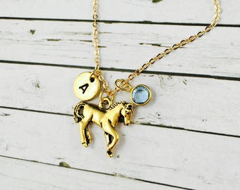 Personalised Horse Necklace With Swarovski Crystal Birthstone Charm, Hand Stamped Initial Charm, Antique Gold Horse Charm Necklace