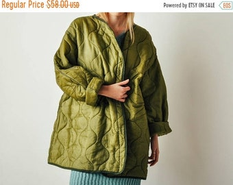 ON SALE - Vintage Army Green Quilted Liner Coat