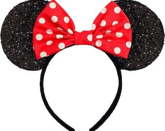 Minnie Mouse Ears Mickey Mouse Ears Minnie Mouse Halloween Costume Red Classic Headband Red Minnie Mouse Bow Polkadot Minnie Mouse Headband