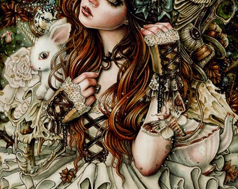 Natanya's Wonderland Art Print 8x10 Inches Fantasy Goth Art by Enys Guerrero