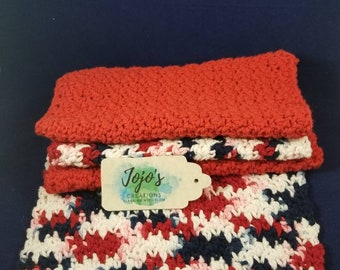 Kitchen dishcloths, patriotic, crochet dish cloths, handmade, housewarming gift, red white and blue,