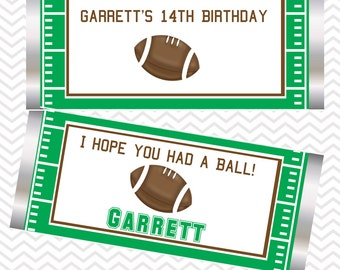 Football - Personalized Candy Bar Wrapper