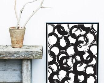 Abstract Watercolor, Circles Print, Printable Art,  Black Abstract, Abstract Art Print, Scandinavian Design, Minimalist Art, Wall Decor