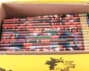 Vintage New Old Stock Variety of Native American Patterned Pencils with Colored Erasers. Box Containing 70+ Pencils
