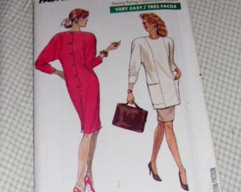 Vintage 1980s Butterick Pattern #6545 Fast & Easy Size 12-14-16 Dress, Tunic and Skirt