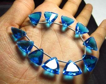 5 Matched Pair - SWISS BLUE QUARTZ - Super Sparkle Trillion Cut 12x12 mm Size