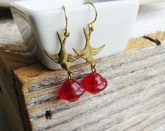 Sparrow Earrings, Red Bead Earrings, Bead Jewelry, Red Earrings, Bird Earrings, Nature Earrings