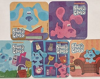 Blues Clues Party Favors Refrigerator Magnets, 5 Nickelodeon Fridge Magnets Set, Blue Magenta Mailbox, Blues Clues Birthday