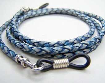 Blue Eyeglass Chain, Leather Bolo Cord, Chain for Eyeglasses, Custom Made 24-36 Inches by eyewearglamour