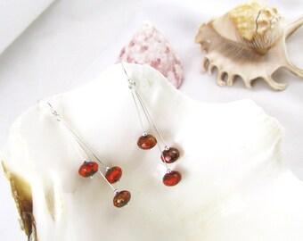 Orange and Brown Sterling Silver Earrings