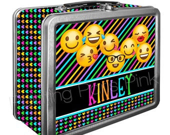 Emoji Classic Tin Lunch Box with or without Side Wrap | Back To School | Personalized | Image on Both Sides | Keepsake Box