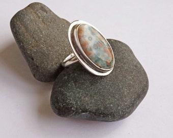 Ocean Jasper Sterling Ring, Oval Ocean Jasper Ring, Green Pink Ring, Sterling Ring, Oval Ocean Jasper