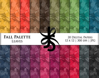 Digital Scrapbook Papers-Fall Palette Leaves-Leaf-Fall-Thanksgiving Clipart-Leaves Backgrounds-Wallpaper-Printable-Instant Download Clip Art