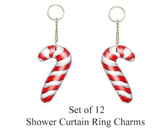 Candy Cane... Shower Curtain Ring Charms/ Ornaments...Set of 12