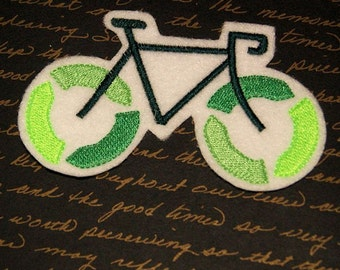 Recycle Bicycle Green Iron On Embroidery Patch MTCoffinz