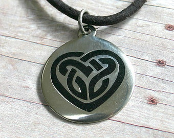Leather Necklace With Modern Celtic Knot Heart Pendant Surfer 3mm distressed cord