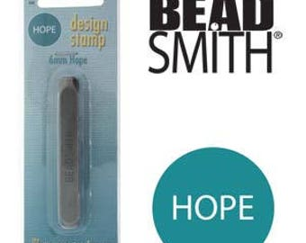 Beadsmith Metal Design Stamp, 6mm HOPE Design Sterling Jewelry Leather Wood PMC